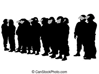 Police force - Vector drawing of special police force