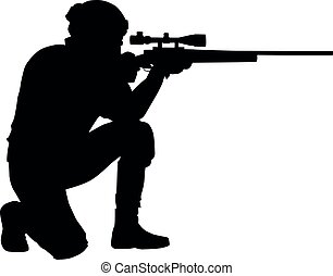 Police forces sniper aims rifle vector silhouette