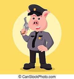 police, fusil, tenue, cochon