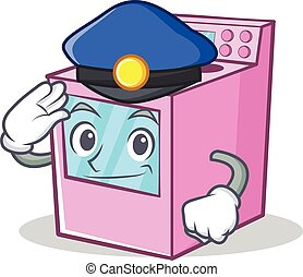 Police gas stove character cartoon