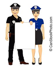 police, gens, couple, planche, tenue, vide, vide