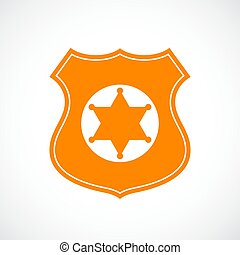 Police gold badge vector icon