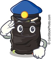 Police grabage bag isolated with the mascot vector illustration