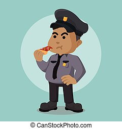 police, graisse, officier, africaine, pizza mangeant