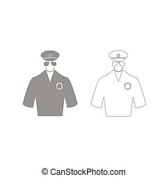Police grey set icon .
