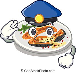 Police grilled salmon isolated in the mascot