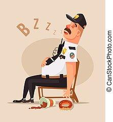 Police guard man character sleep. Vector flat cartoon illustration