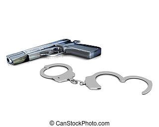 Police gun and handcuffs - A police gun and handcuffs on...