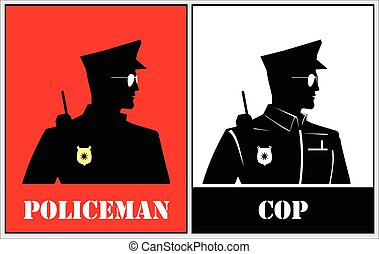half body silhouette of a police. Policeman silhouette. Policeman isolated. Police Officer