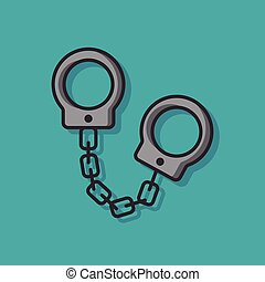 Police handcuffs vector icon
