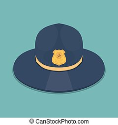 Police hat icon in a flat design. Vector illustration