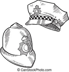 Police hats sketch - Doodle style police hat or and English...