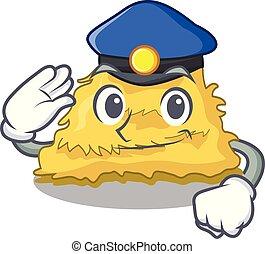 Police hay bale character cartoon vector illustration
