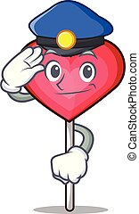 Police heart lollipop character cartoon vector illustration