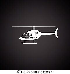 Police helicopter icon. Black background with white. Vector...