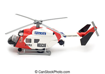 Police helicopter - object on white - toy model helicopter