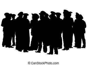 police, hommes, foules