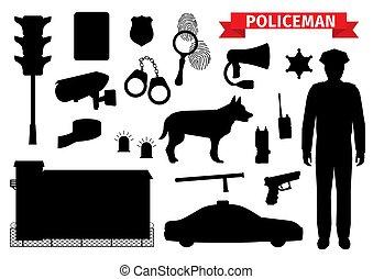 police, icônes, policier, silhouette, équipement