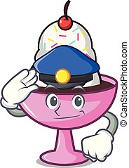 Police ice cream sundae character cartoon vector...