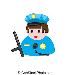 Police icon on a white isolated background. Vector image