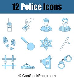 Police Icon Set. Thin Line With Blue Fill Design. Vector Illustration.
