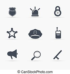 Police Icons set. Vector illustration.
