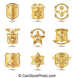 police, insignes, or