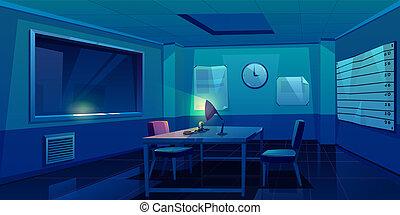 police, intérieur, salle, station, interrogation