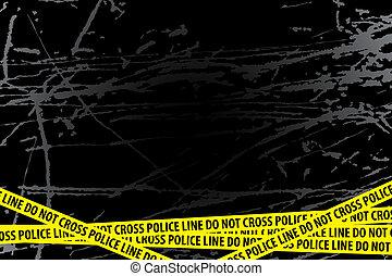 Police line ?do not cross? on black background