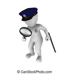 Police investigation - 3d rendered white police officer with...