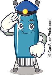 Police iron board character cartoon vector illustration