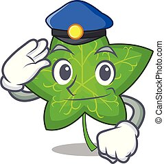 Police ivy leaf isolated on character cartoon