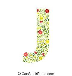 police, j, alphabet, modèle floral, capital, majuscule, feuilles, vert, fait, vecteur, élément, lettre, fleurs, illustration
