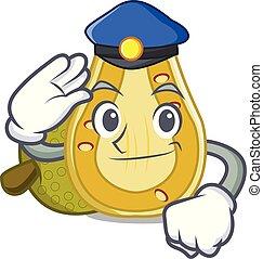 Police jackfruit character cartoon style vector illustration