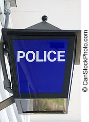 Police light sign - traditional blue police sign lantern...