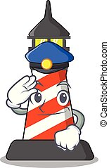 Police lighthouse character cartoon style