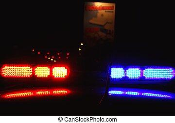 Police lights by night