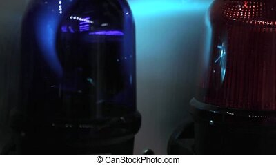 Police Lights - Rotating Police Emergency Lights at Night