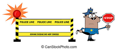 Black Police Officer Holding A Stop Sign By A Police Line Barrier