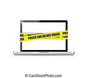 police line do not cross laptop. cyber crime