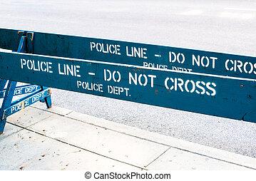 POLICE LINE - DO NOT CROSS - Wooden blue Police barrier...