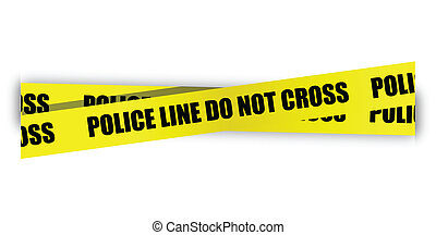 Police line do not cross. Yellow tape isolated on white ...