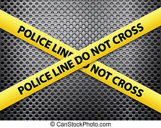 police line metal background