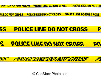 Police line - several versions of a police line with...