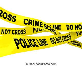 police line - 3d illustration of police line ribbons over...