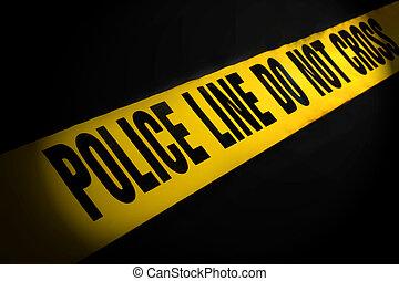 Police Line Tape on Black Background
