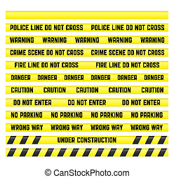 Main warning signs with a blank tape to create your own. Tapes are made so that it was easy to make a pattern of any size. Clipping path included for all tapes.