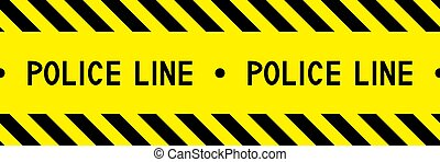 Police line. Warning tape. Caution tape. Yellow and black barricade tape. Seamless stripe. Vector illustration.