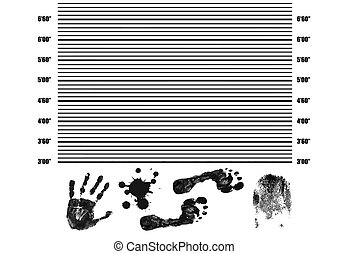 Police Lineup Background with fingerprint, handprint, footprint and splatter, vector illustration