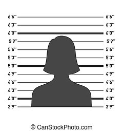 Police Lineup with Woman Silhouette. Vector illustration
